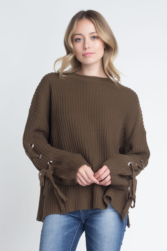 Bandage Sleeve Loose Pullover Sweater