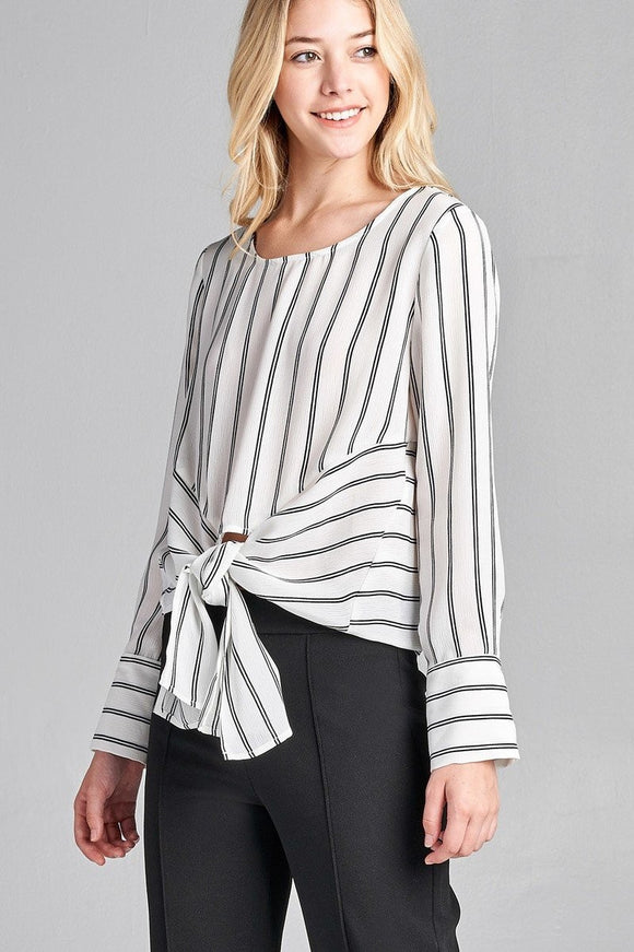 Front Tie Striped Blouse