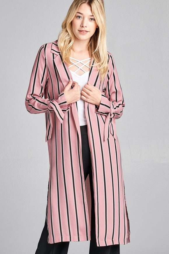 Multi Stripe Long Jacket w/ Side Slit