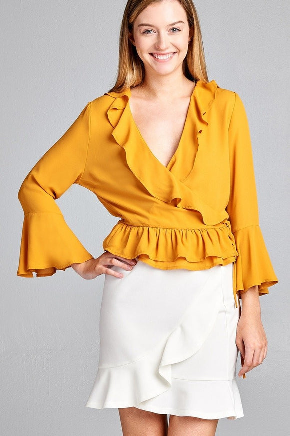 Ruffle Flare Bell Sleeve Wrap Woven Top