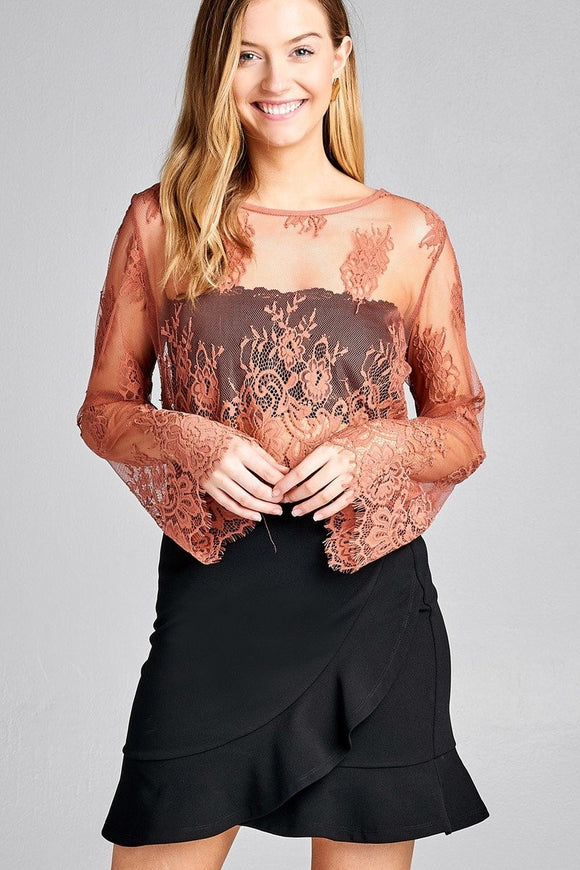 Brooke Sheer Lace Crop Top