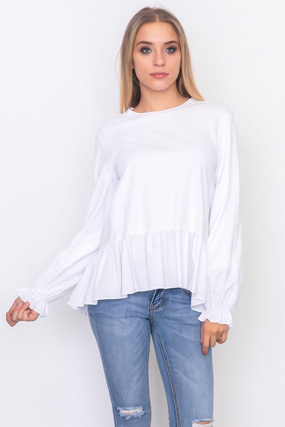Contrast Woven Ruffle Sleeve Top