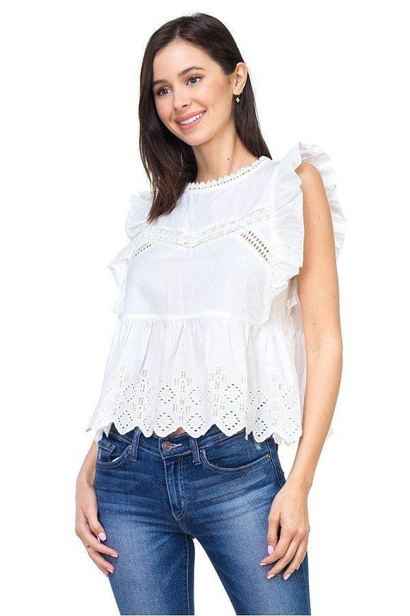 Ruffle Trim Eyelet Top