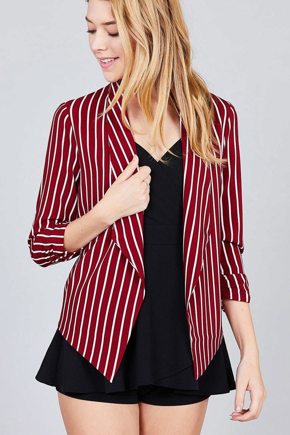 Shirring Sleeve Open Front Striped Jacket