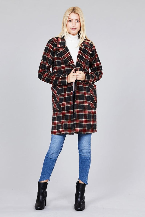 Plus Size Heavy Plaid Long Jacket w/ Notched Lapel & Pockets