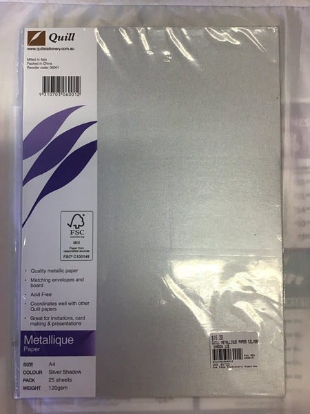 Quill Metallique Paper Silver Shadow 120gsm 25 sheets