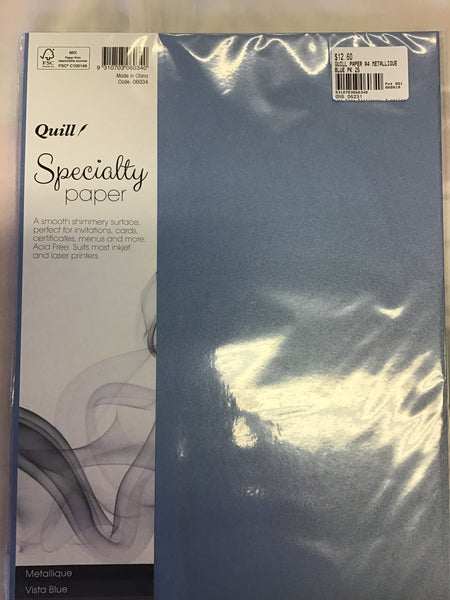 Quill Paper A4 Metallique Vista Blue 120gsm Pack 25