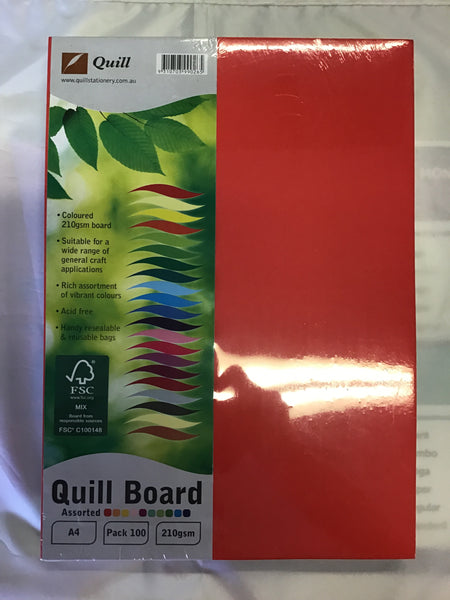 Quill Cardboard A4 210gsm Pk 100 Assorted Colours