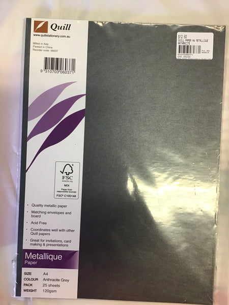 Quill Paper A4 Metallique Anthracite Grey 120gsm 25 Sheets