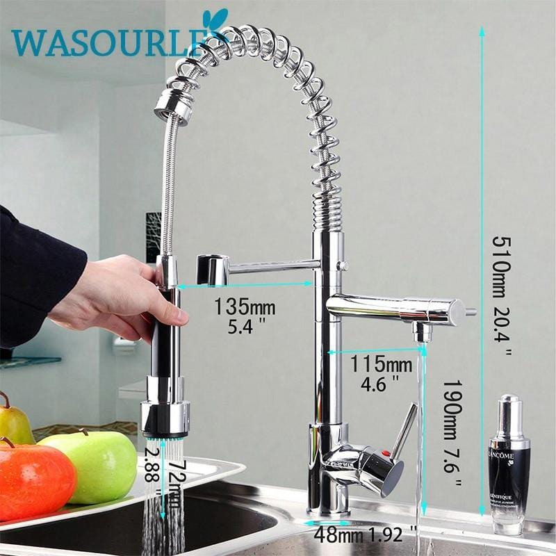 kitchen chrome plated brass faucet single handle pull-out pull down