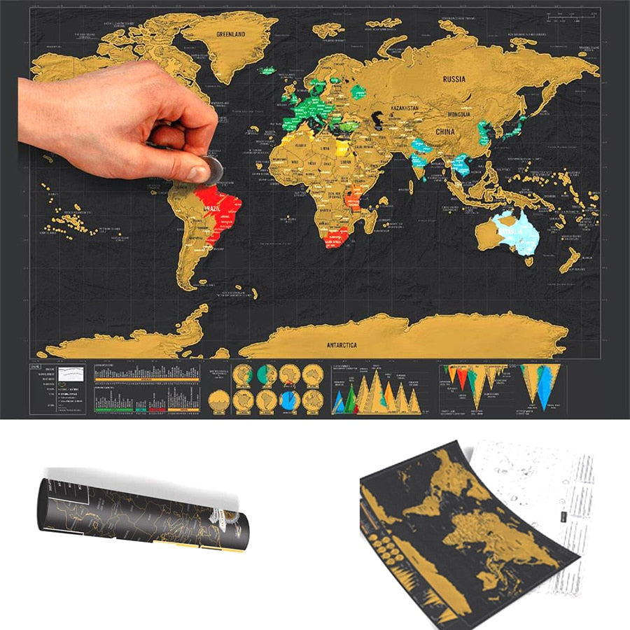 Deluxe World Scratch Map Map