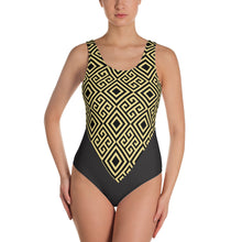 Load image into Gallery viewer, Gold Greek Pattern One-Piece Swimsuit - Stage 12