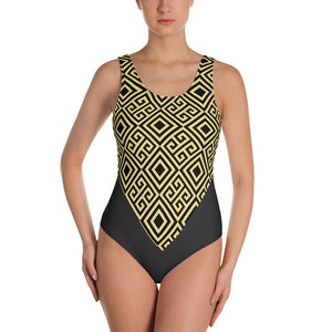 Gold Greek Pattern One-Piece Swimsuit - Stage 12