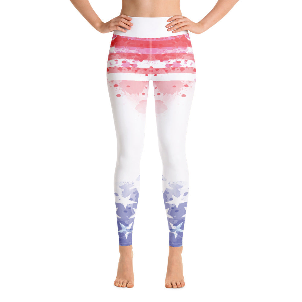 USA FLAG Paint Yoga Leggings - Stage 12