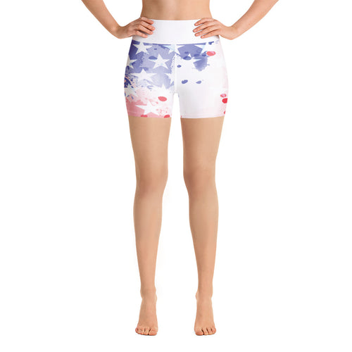 USA Flag Abstract Paint Yoga Shorts - Stage 12