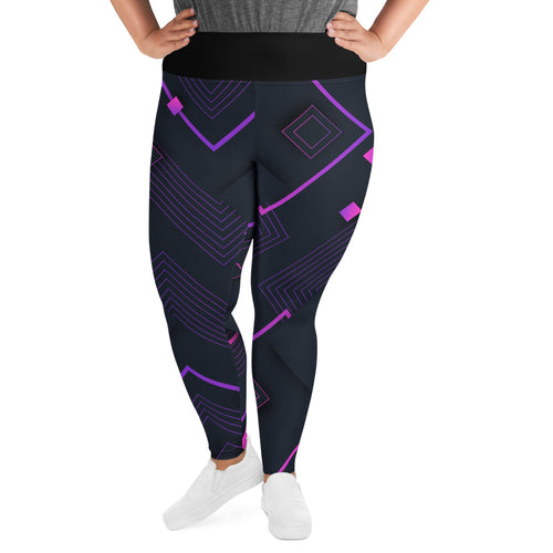 Digital Square Abstract Plus Size Leggings - Stage 12