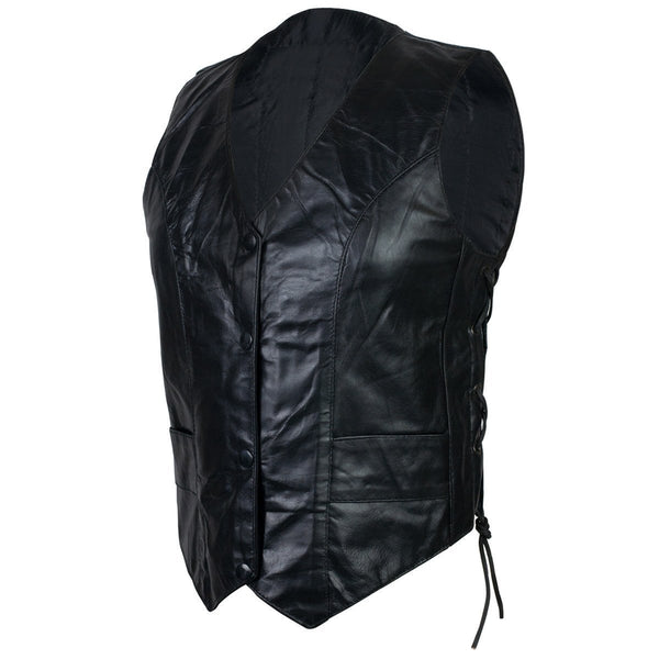 VL1018 Vance Leather Ladies Lambskin Lace Side Vest - Daytona Bikers Wear