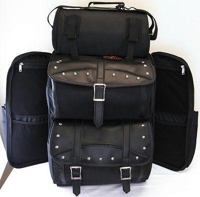 VS347 Vance Leather Extra Large Studded 2-Piece Travel Bag/Back Pack - Daytona Bikers Wear