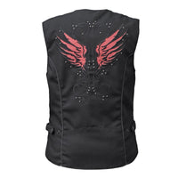 Vance Leather VL1182B Ladies Textile Vest with Reflective and Embroidered Wings