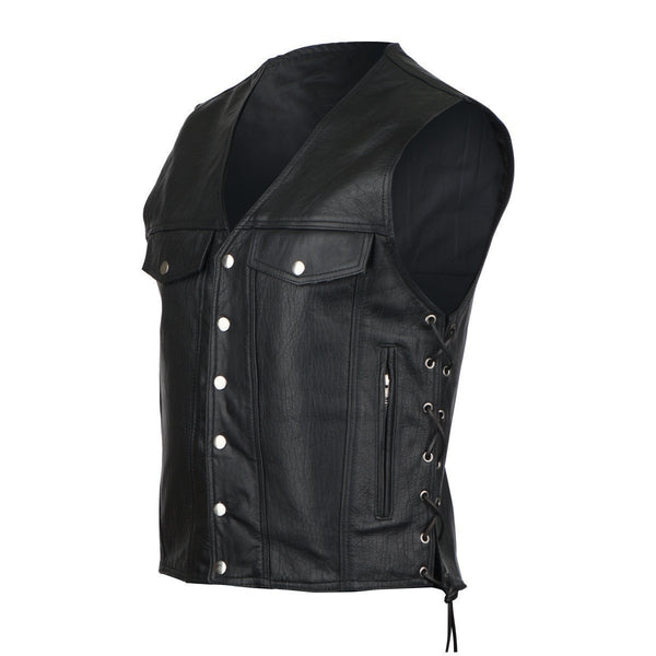 VL916 Vance Leather Denim Style Straight Bottom Laced Side Vest - Daytona Bikers Wear
