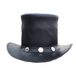Steampunk Black Diamond Leather Top Hat with Buffalo Nickels