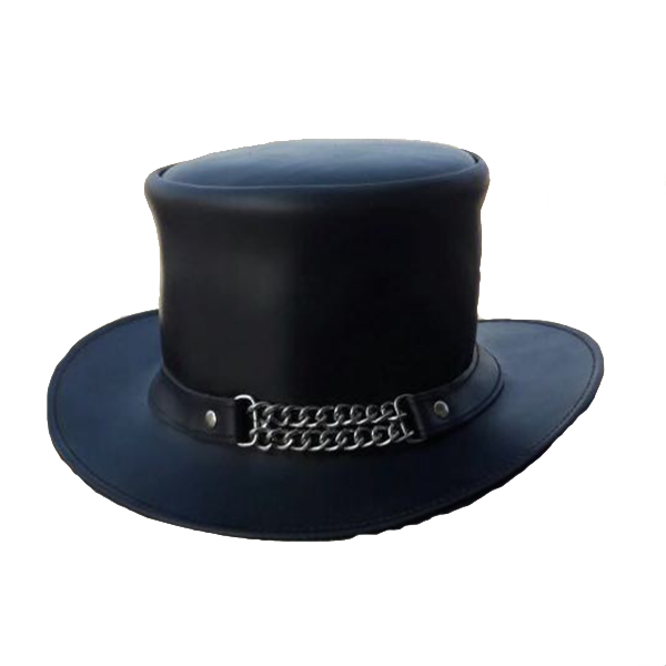 Steampunk Chain Reaction Leather Top Hat