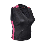 HML1033 Ladies Premium Leather Vest with Leather Scrunch Sides in Fuchsia, Purple or Black