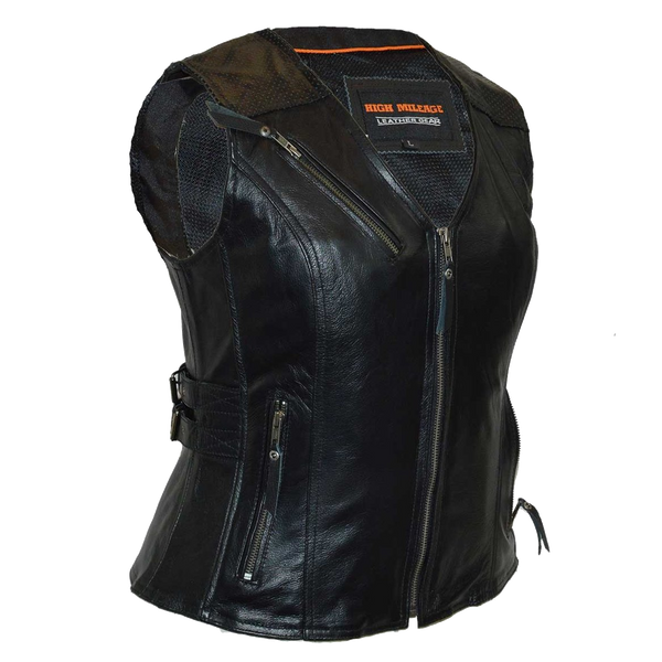 HML1037B Ladies Black Vest with Buckles