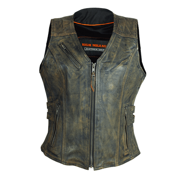 HML1037DB Ladies Distressed Brown Vest with Buckles