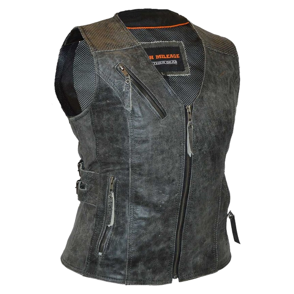 HML1037DG Ladies Distressed Gray Vest with Buckles