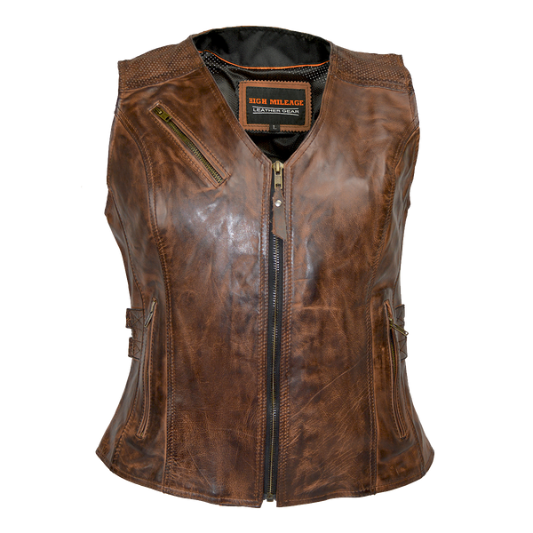 HML1037VB Ladies Vintage Brown Vest with Buckles