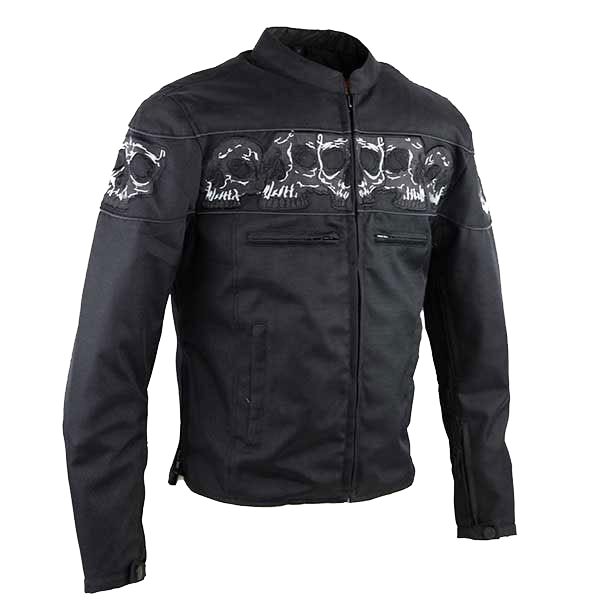 HMM1535 Men's Textile Jacket with Embroidered Reflective Skulls