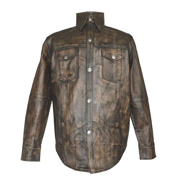 HMM504DB High Mileage Men's Distressed Brown Cowhide Leather Shirt