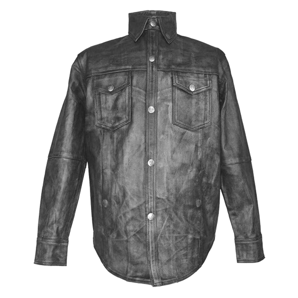 HMM504 High Mileage Black Lambskin Leather Shirt