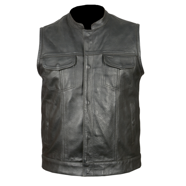 HMM914DB Vance Leather Distressed Brown Motorcycle Club Leather Vest