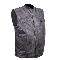 HMM914DG Distressed Gray Motorcycle Club Leather Vest