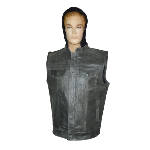 HMM914HDG Distressed Gray Motorcycle Club Leather Vest with Hood