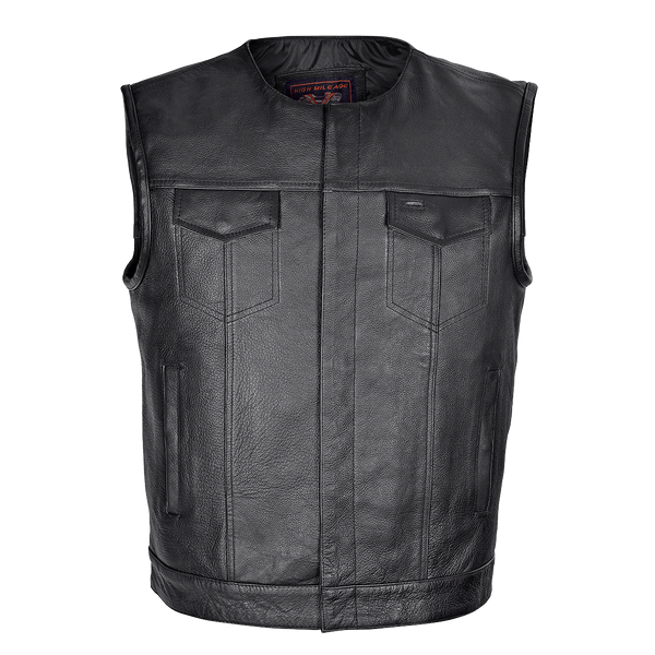 HMM919 Men's Leather Club Vest with Quick Access Gun Pocket