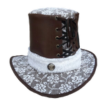 Steampunk Leather and Lace Top Hat