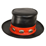Men's Black Leather Mad Hatter Top Hat with Red Stripe and Conchos