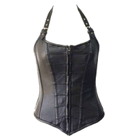 VC1316 Vance Leather Ladies Zip Front Corset with Removable Halter Straps