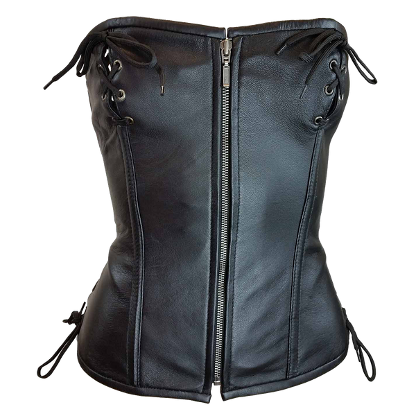 VC1322 Vance Leather Ladies Laced Top Corset with Zip Front Closure