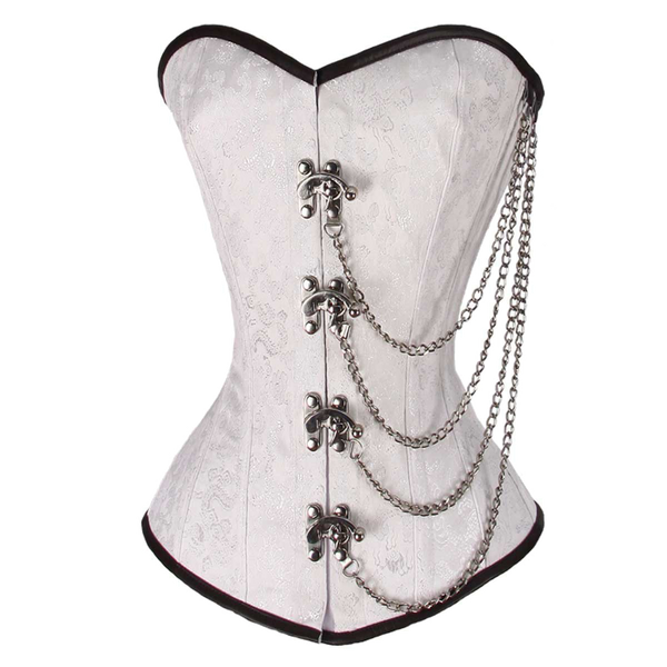VC1401 Ladies Brocade Corset White with Chains