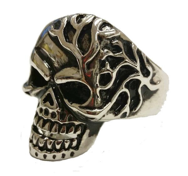 VJ1035 Stainless Steel Men's Mad Man Skull Ring