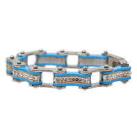VJ1104 Two Tone Silver and Turquoise Ladies Bike Chain Bracelet with White Crystal Centers