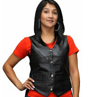 Vance Leather VL1004 Ladies 4 Snap Milled Leather Lace Side Vest