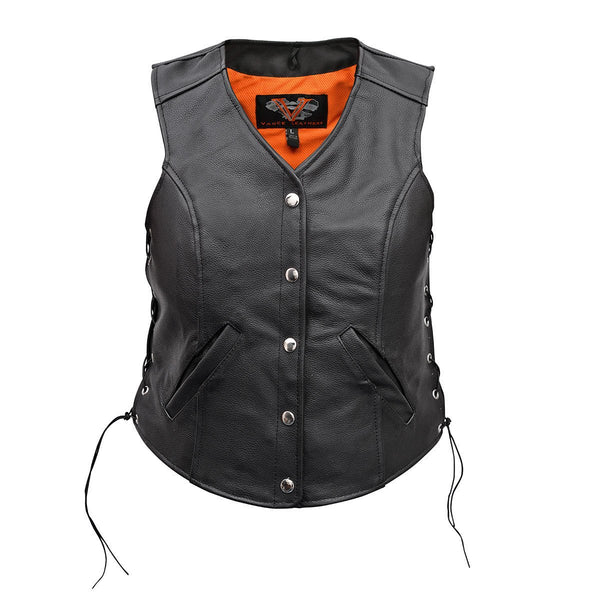 VL1048 Vance Leather Premium Leather Ladies Five-Snap Lace Side Vest - Daytona Bikers Wear