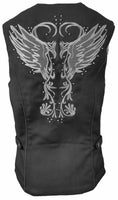 VL1182 Vance Leather Ladies Textile Vest with Reflective and Embroidered Wings - Daytona Bikers Wear