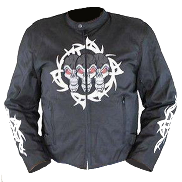 Vance Leather VL1529 Men's Textile Jacket with Reflective Skull
