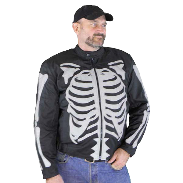VL1531 Vance Leather Men's Textile Jacket with Gray Reflective Skeleton and Armor